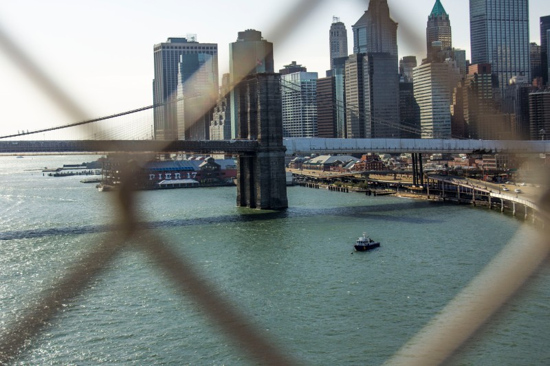 Viewing Downtown Manhattan with the Brooklyn Bridge in sight