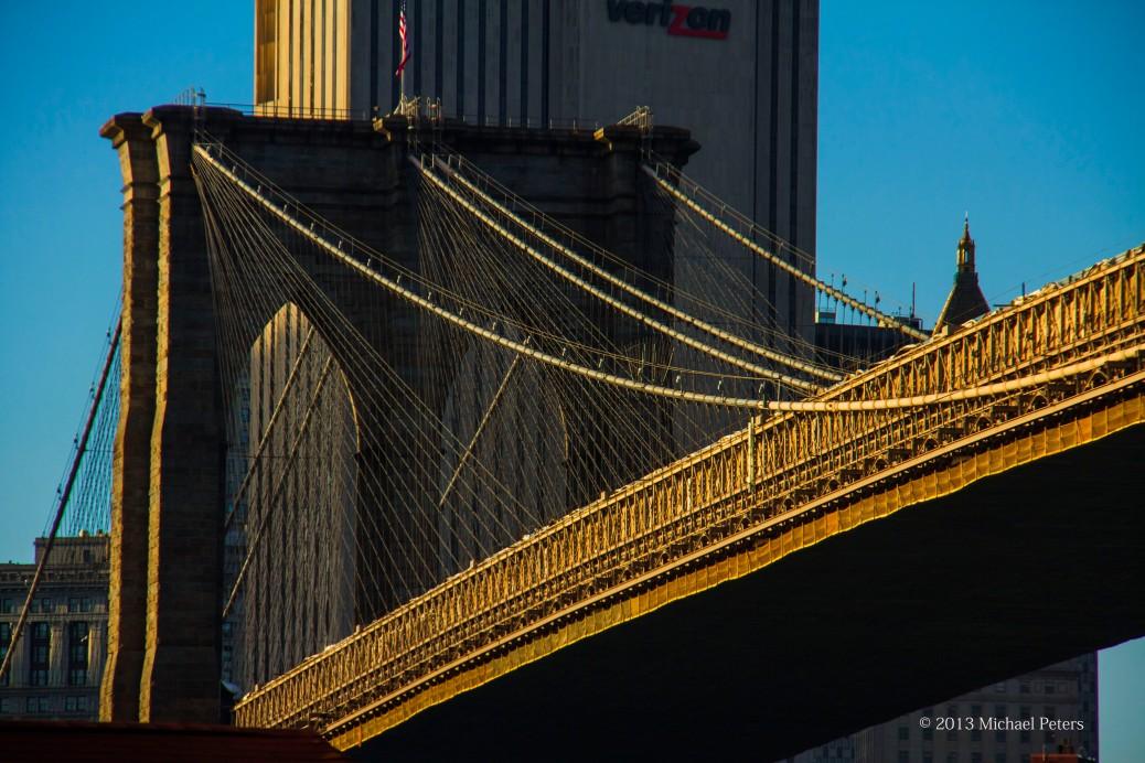 Brooklyn bridge closeup from Dumpo