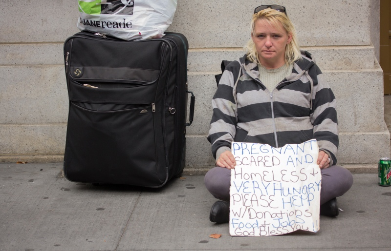 A homeless lady on the streets of Manhattan
