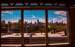 Viewing the Manhattan Skyline from a subway window