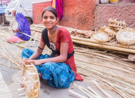 A young basket weaver