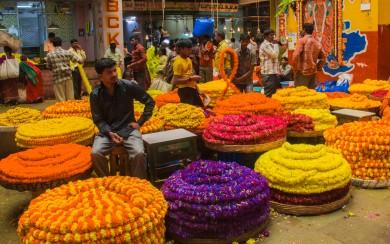 Florist inside the flower market in Bangalore