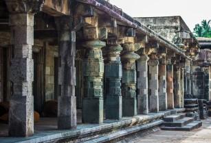 Pillars at the Belur temple