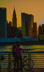 guy and gal at sunset