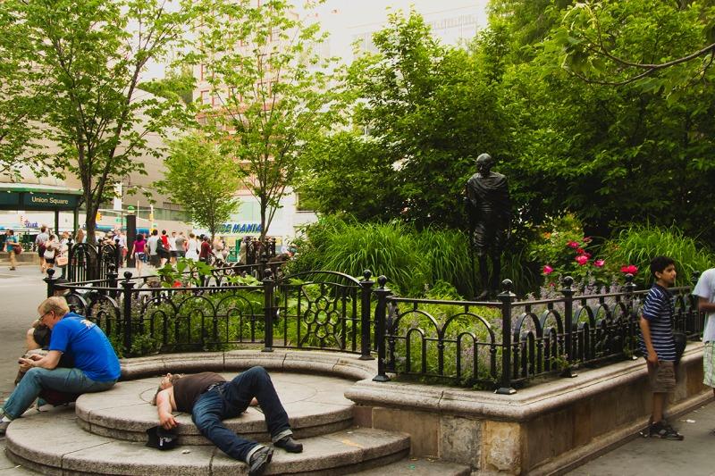 union square gandhi statue