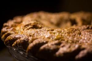 The crust of the apple pie