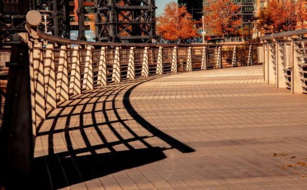 Shadows down a walkway