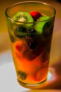 Fresh fruits in onange soda