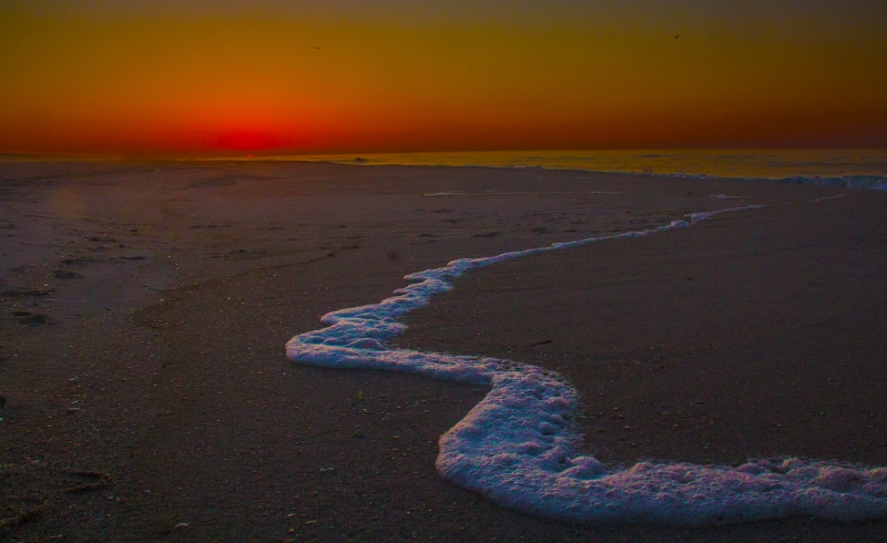 Sunrise first peek of the sun