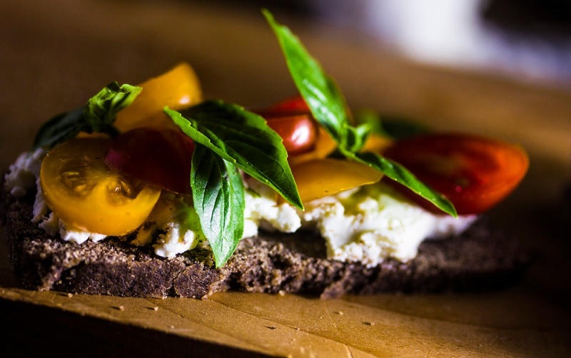 Goat cheese basil and tomatoes