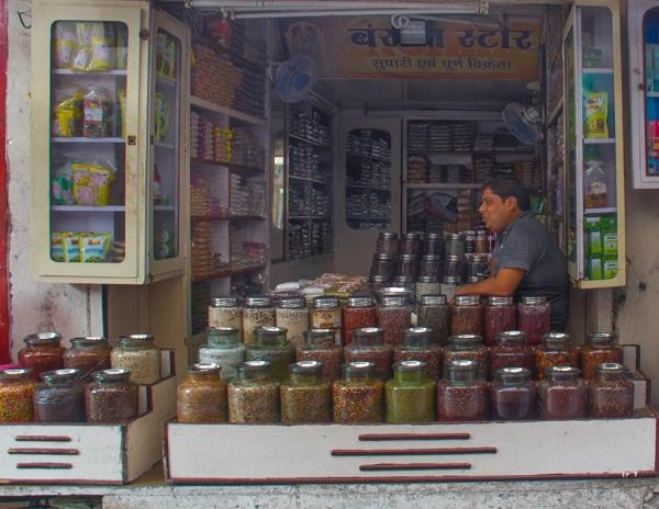 Ajmer, Rajasthan, India, candy shopkeeper