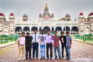 A group photo at the Mysore Palace