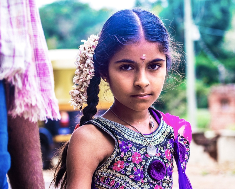 Village girl in Mysore, Karnataka, India.